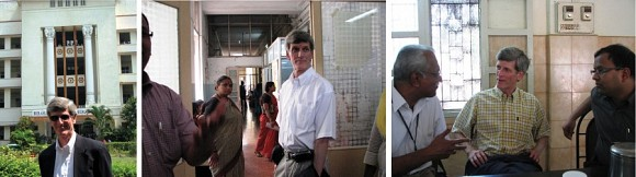 Doug Heimburger, M.D., recently visited B.J. Medical College (left and center) and Vellore Christian Medical College (far right) in India. Both are supported by the Vanderbilt Institute for Global Health.